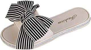 FORUU Women Fashion Stripe Bow Round Toe Flat Heel Sandals Slipper Beach Shoes
