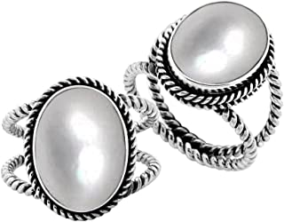 Sterling Silver Oval Shape Ring with Mother of Pearl AR-6212-MOP-7