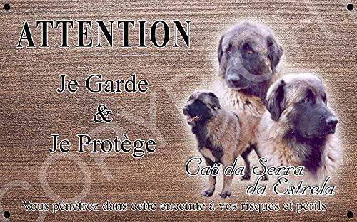 Pets-Easy.com Attention Chien de Garde personnalisée Chien Estrela - pré perforée et vis données. De 30 cm à 15 cm…
