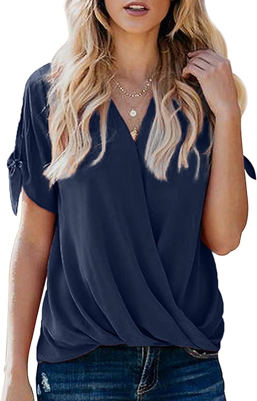 Side Shirring Tops for Women Drape V-Neck T-Shirts Clean Short Sleeves Tees Sling Summer Blouse Solid Light Pullover
