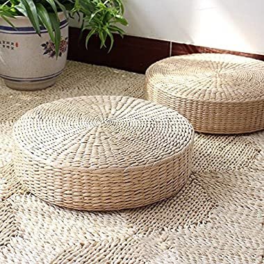 LB Japanese Style Handcrafted Eco-friendly Breathable Padded Knitted Straw Flat Seat Cushion,Hand Woven Tatami Cushion Best for Zen,Yoga Practice or Buddha Meditation (L: 19.7 X4.3 )