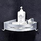 Mensola angolare da bagno con gancio per doccia e vasca da bagno, doccia impermeabile, ripiano angolare antiruggine per bagno e cucina (argento)