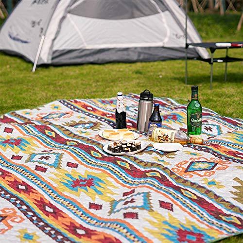 Duchen Garten-Bodenkissen Outdoor riesige Picknickdecke Stranddecke wasserdichte Rückseite maschinenwaschbar extra große Taschenmatte Bohemia XL Teppich Camp gepolstert 300 x 200 cm