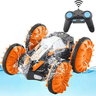 Stunt Remote Control Car Boat Off Road Truck 4WD 6CH 2.4Ghz Land Water 2 in 1 RC Toy Car Multifunction Waterproof Stunt Radio Controlled Vehicle with Headlights