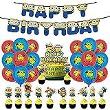 Minions Set de Fiesta de Cumpleaños Miotlsy 32Pcs Decoración de Fiesta de Cumpleaños Minions, Pancartas de Cumpleaños Globos y Adornos para Tartas, para Cumpleaños, Fiesta, Baby Shower