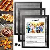 Tapis de Barbecue Set of 3, Tapis de Cuisson Barbecue antiadhésif, Doublure de tôles à Griller en téflon, réutilisables,pour gaz, Charbon de Bois, Grill, BBQ,etc (Noir) (40 x 33 cm)
