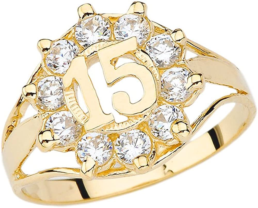 Elegant 10k Yellow Gold 40% OFF Cheap Sale Ring Japan Maker New CZ Quinceanera