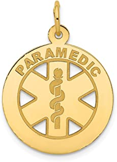 14k Yellow Gold Medium Paramedic Medical Alert Pendant Charm Necklace Career Professional Fine Jewelry Gifts For Women For Her