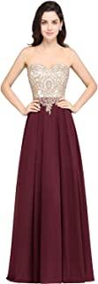 Gold Lace Appliques Rhinestone Long Formal Evening Party Dresses