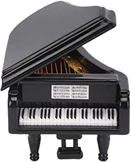 Pssopp Black Grand Piano Model Miniature Basswood Music Instrument Ornament Dolls House Living Room Furniture and Accessor...