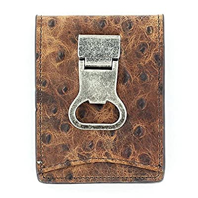 Nocona Belt Co. Double Bifold Money Clip Ostrich, Brown
