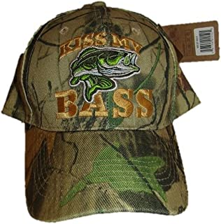 Kiss My Bass Fish Fishing Woodland Camo Camouflage Embroidered Cap Hat
