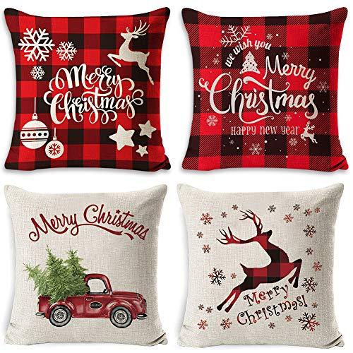 WENTS Kissenbezüge Weihnachten 4Pcs Weihnachtsbaum Schneeflocke Rentier Wohnkultur Leinen Dekokissen Cases Xmas Holiday Farmhouse Home Schlafzimmer Dekokissen 45 x 45cm