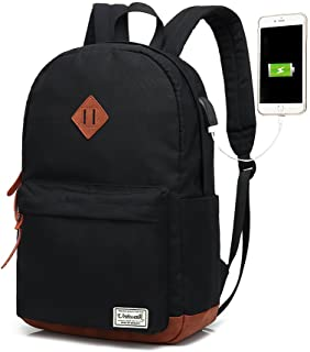 Classic College Backpack, Water-resistent Laptop Backpack with USB Charging Port & Headphone Adapter for Men & Women Slim Anti-Theft Travel Bookbags Fits up to 14'' Computer 15'' Macbook - Black