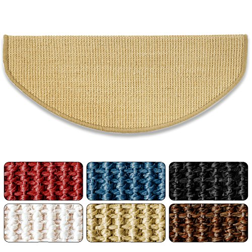 Sisal - Stufenmatte in 2 Größen Natur, gewebt in natürlicher, schöner Sisalstruktur, eingepresster Treppenwinkel für sicheren Halt, wohnlichen Farben und rutschsicher für Mensch und Tier