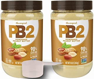 PB2 Powdered Peanut Butter Plain 2 Pack with BONUS Scoop and 3 Delicious PB2 Recipes, 2 1lbs jars from Bell Plantation