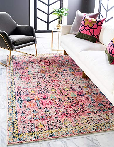 Rugs.com El Paso Collection Rug – 5' x 8' Pink Medium Rug Perfect for Living Rooms, Large Dining Rooms, Open Floorplans