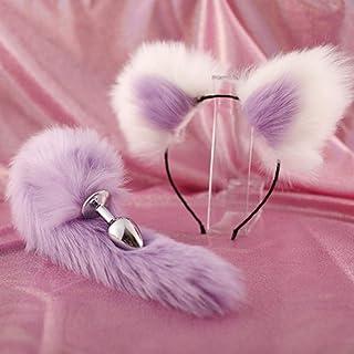 ZBZYXA 40cm Full Purple Tail Double Erotic Fun Plush Hairpin Clip Ear Role Play Makeup Metal an(ǎl Plǔ(g Expansion Playing T-Shirt Trousers