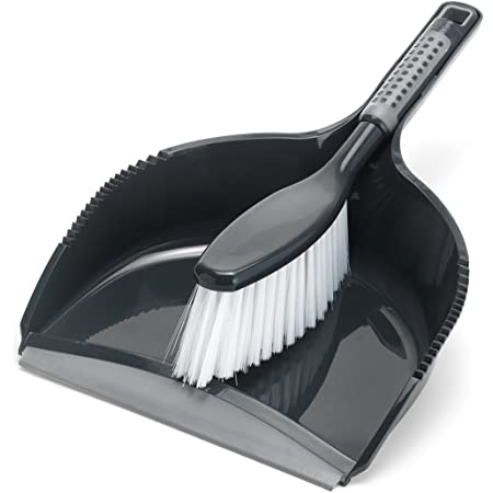Addis ComfiGrip Large Dustpan and Soft Brush Set, Metallic Graphite, 11 x 23 x 35 cm
