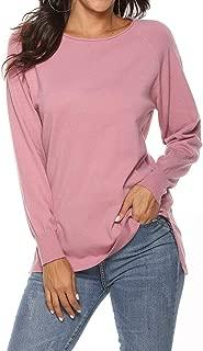 Locryz Women's Fall Long Sleeve Side Split Loose Casual Knit Pullover Sweater Tops