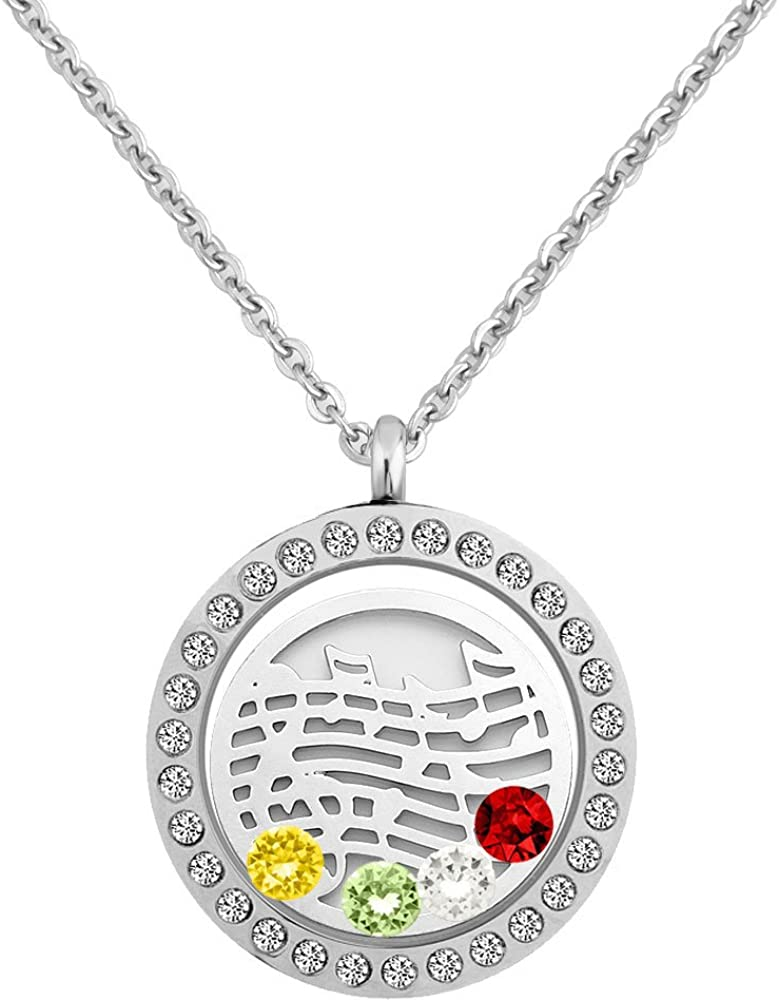 Third Time Charm 4 Floating Charm Locket Necklaces 30mm Pendant