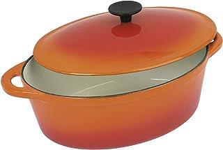 Tradifonte Cocotte Ovalada De Hierro Fundido Esmaltada Naranja