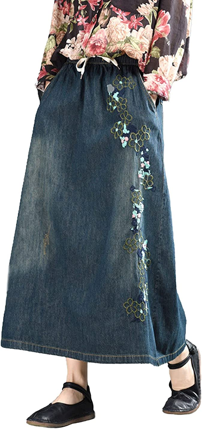 PAODIKUAI Women's Casual Elastic Waist Midi Long Patchwork Denim Skirt