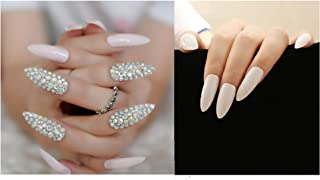 VIKSON INTERNATIONAL 12 Pcs White Diamond SEXY Bridal Extra long pointed oval fake nails crystal diamond white nail with 10 gm nail glue