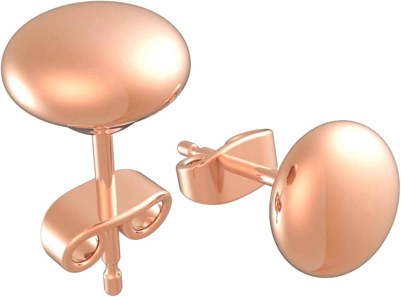 14K Rose, Yellow, & White Gold Flat Button Ball Studs 3mm/ 4mm/ 5mm/ 6mm/ 7mm/ 8mm, Hollow Light Weight Plain Gold Ball Stud Earrings