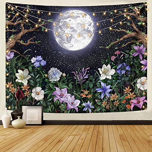 Neasow Aesthetic Moon Garden Tapestry Wall Hanging, Night Landscape with Colorful Plants Floral Tapestries for Bedroom Home Decor Multi Color (60'×80' (150cm×200cm))