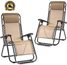 Set of 2 Zero Gravity Chairs Lounge Patio Chairs Outdoor Yard Beach (Tan)
