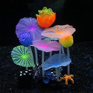 SLOME Aquarium Glowing Mushroom Decorations - Fish Tank Decoration Silicone Ornament, Eco-Friendly for Freshwater Saltwater Aquarium Betta Fish Environments …