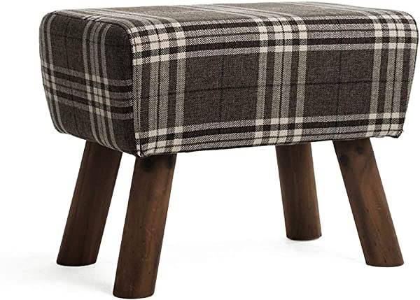 Carl Artbay Wooden Footstool Sofa Solid Wood Shoes Bench Fabric Block Living Room Footstool Small Simple Modern Shoes Bench Cotton Linen Material Home Color C