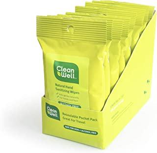 CleanWell Botanical Antibacterial Hand Sanitizing Wipes - Travel Size, 10 Count (Pack of 8) - Plant-Based, Alcohol-Free, Kid Friendly, Kills Germs botanically, Biodegradable Solution