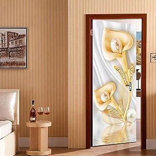 Décoration de fleurs porte papier peint auto-adhésif DoorPoster bricolage auto-adhésif mur photo PVC étanche papier peint-...