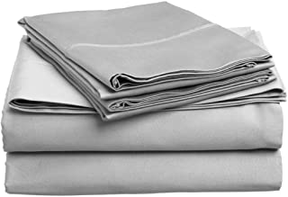 KN Linen Hotel Collection - Luxury Solid Pattern 600 Thread Count 100% Egyptian Cotton 4-Piece Sheet Set with Fully Elastic Pockets Fits 15-18