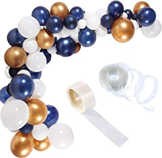 Balloon Arch Garland Kit 90 Piece Party Balloons with 16 ft Balloon Strip Tape and 100 Glue Points for Birthday Wedding Holiday Decoration (Navy Blue Metallic Chrome Gold)