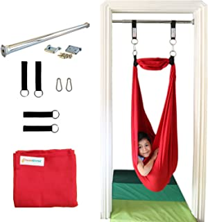 DreamGYM Sensory Doorway Swing Therapy Indoor Swing - 95% Cotton (Red)
