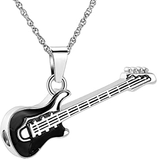 Guitar Cremation Jewelry Urn Necklaces for Ashes for Men Women Stainless Steel Memorial Cremation Urn Jewelry Keepsake Pendants for Human Ashes Holder