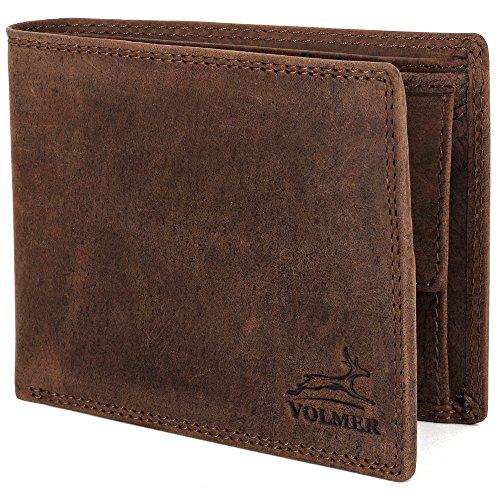 Portafoglio in vera pelle, Slim, confortevole e molto robusto PROTEZIONE RFID #Easycomfort (brown/marrone)