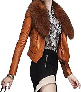 Womens Faux Fur Collar Jacket Pu Leather Winter Short Coat Slim Fit Top