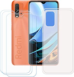 FZZ Case for Redmi Note 9 4G + 3 Pack Tempered Glass Screen Protector Protective Film,Slim Semi-Transparent Soft Gel TPU S...