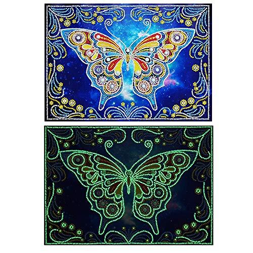Kit per pittura a mosaico 5D fai da te con disegno a forma di gufo, kit per punto croce con strass e ricamo a punto croce, decorazione per la casa, 30 x 40 cm (farfalla)