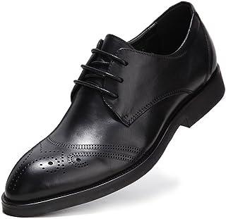 [Flova] ウィングチップ ビジネスシューズ メンズ 本革 レースアップシューズ 脚長 紳士靴 フォーマル 通勤 ブラック/24-27cm