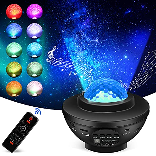Star Projector,Galaxy Projector,Night Light Projector with LED Sky Light Ocean Wave Bluetooth Speaker for Baby Bedroom, Decoration, Gamerooms,Home, Party