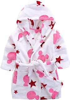 Boys & Girls Bathrobes, Plush Soft Coral Fleece Animal Hooded Sleepwear for Kids