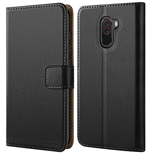 HOOMIL Handyhülle für Xiaomi Pocophone F1 Hülle, Premium PU Leder Flip Schutzhülle für Xiaomi Pocophone F1 Tasche, Schwarz