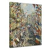 Leinwandbild Claude Monet Die Rue Montorgueil in Paris, Feier Juni 30-40x50cm hochkant - Wandbild Alte Meister Kunstdruck Bild auf Leinwand Berühmte Gemälde