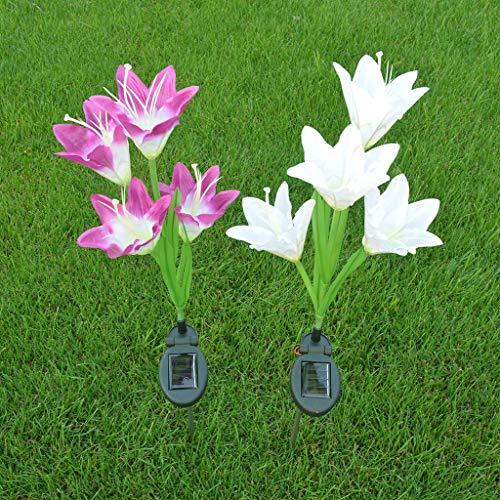 Sillor Outdoor Lighting,Solar Power Flower Light LED Outdoor Garden Yard Path Lawn Landscape Long Rod Lamp 3Pcs(Purple,White,Pink) (White, 3Pcs)