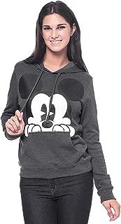 Disney Mickey Mouse Womens Hoodie Peeking Print Pullover Sweatshirt
